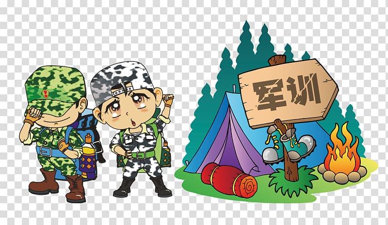 Cartoon character, military training, summer camp, tent.