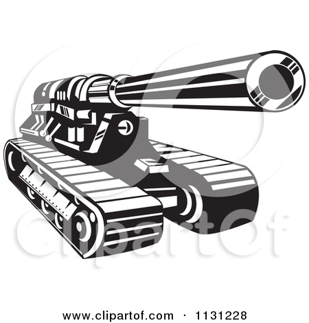 Army tank clipart black and white.