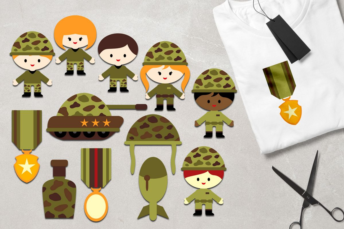 Military clipart army kids, soldier, tank, medals graphics.