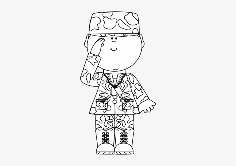 Black & White Soldier Saluting Clip Art.
