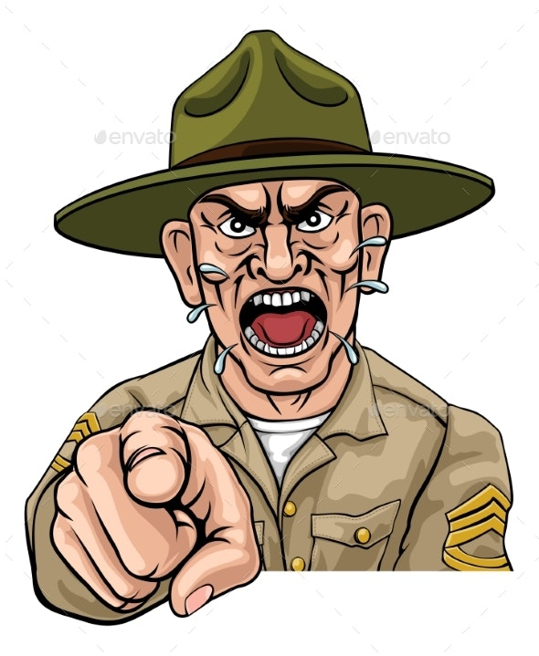 Angry Army Bootcamp Drill Sergeant Cartoon.