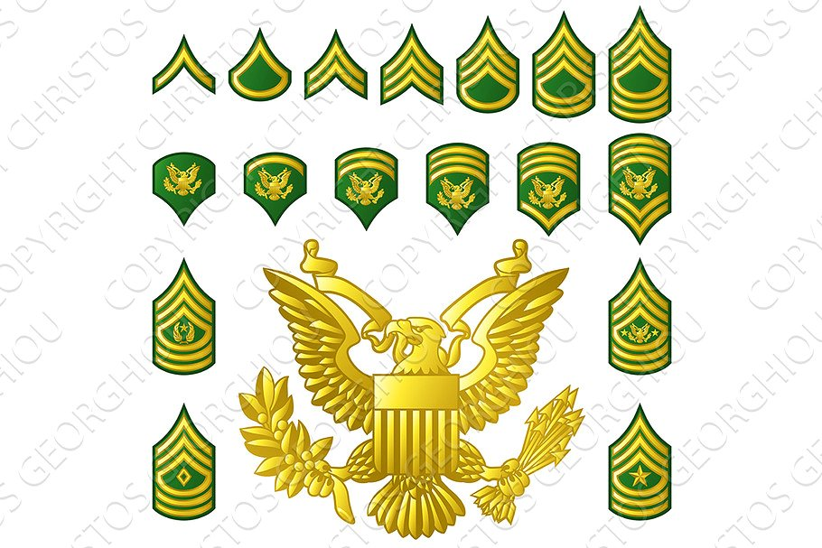 Military Army Enlisted Ranks Insignia.