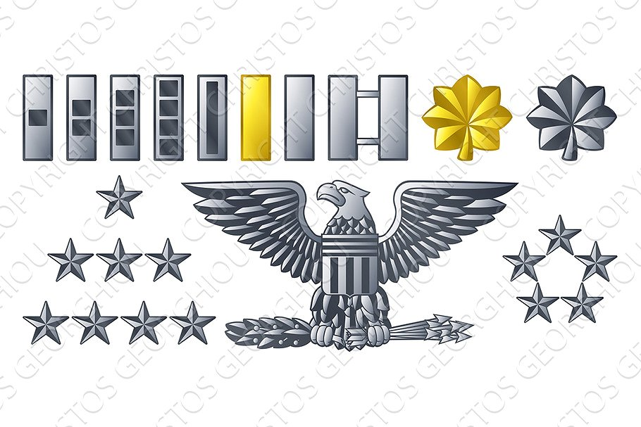 Army Military Officer Insignia Ranks.