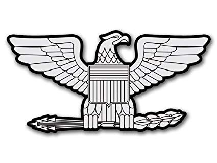Vinyl USA Army Rank Colonel Eagle Shaped Sticker (Insignia Decal).