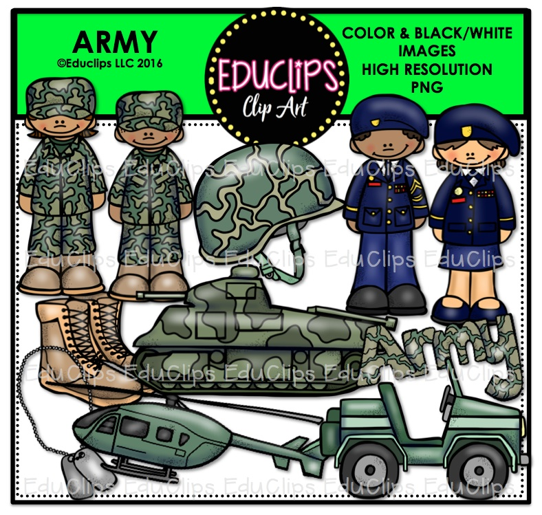 Army Clip Art Bundle (Color and B&W).