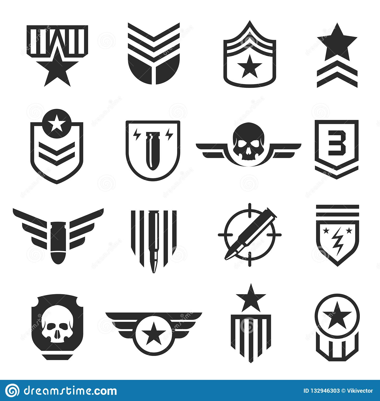 Military And Army Design Element Icon Set Stock Vector.