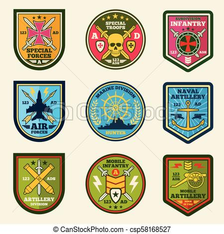Military patches vector set. Army forces emblems and labels.