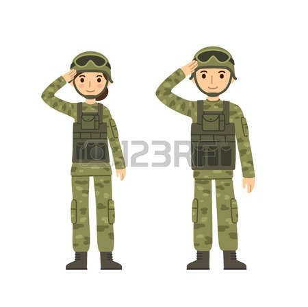 army cartoon: Two young soldiers, man and woman, in.