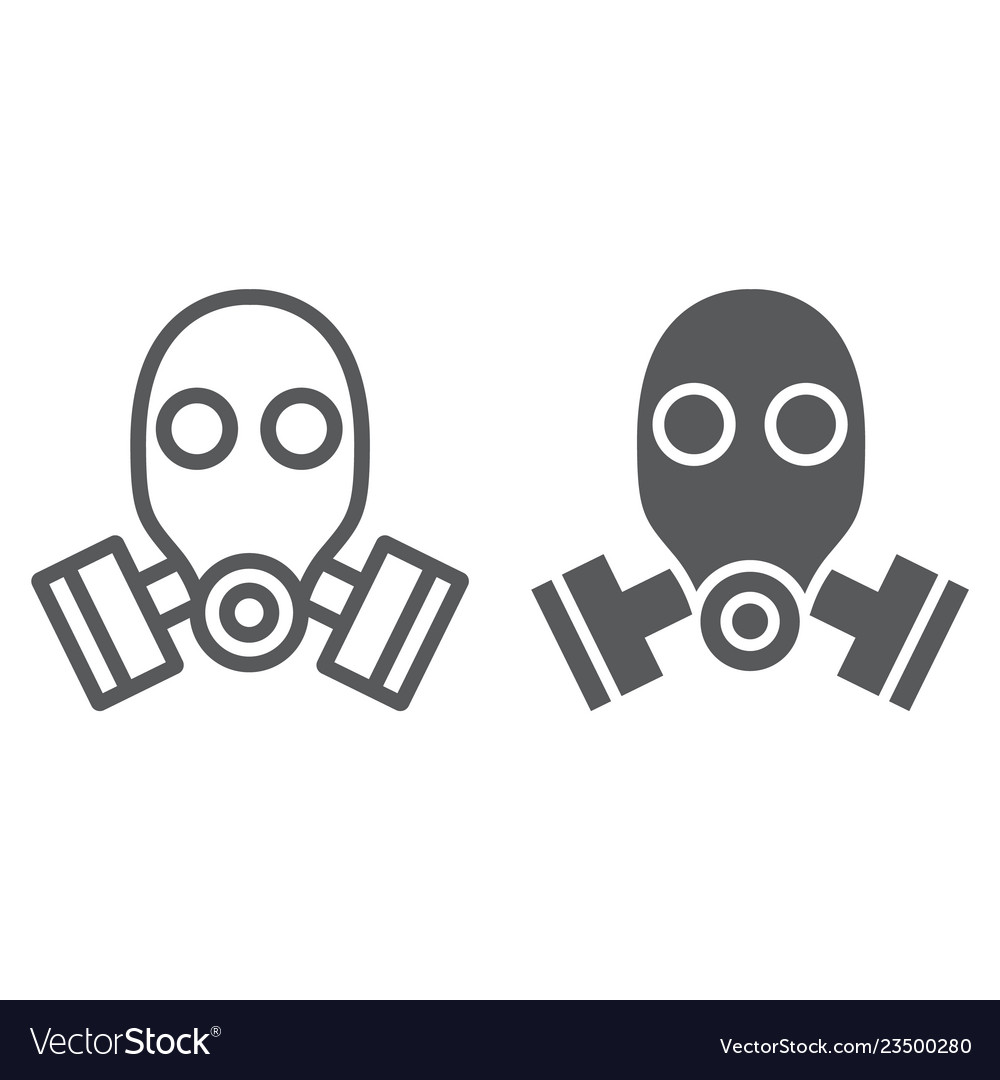Gas mask line and glyph icon defense and army.