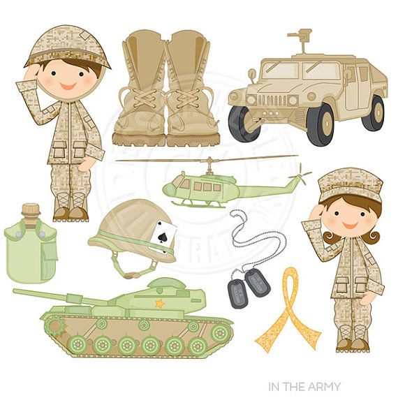 In the Army Cute Digital Clipart for Card Design.