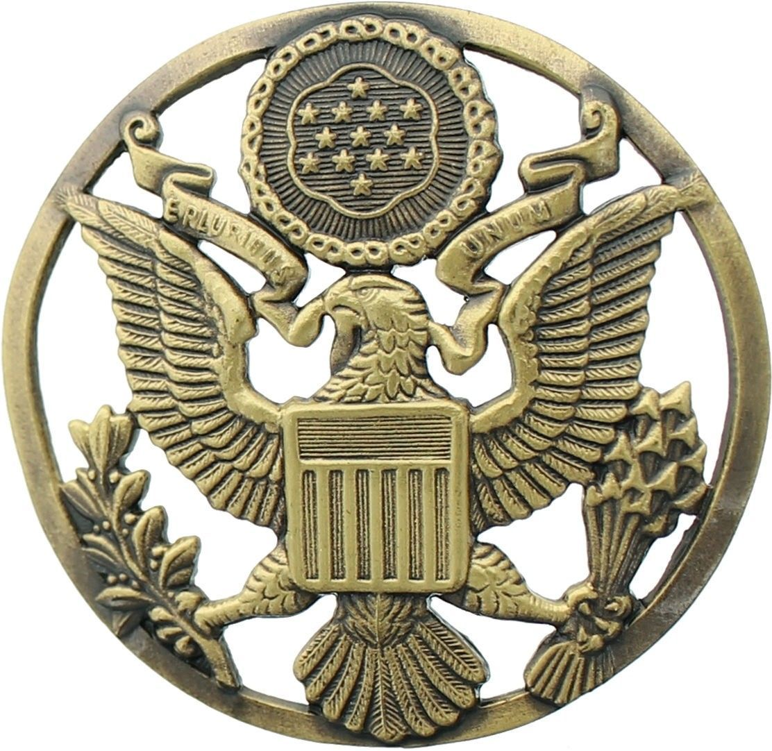 Bronze Official US Army Eagle Logo Round Insignia Pin 1 7/8\