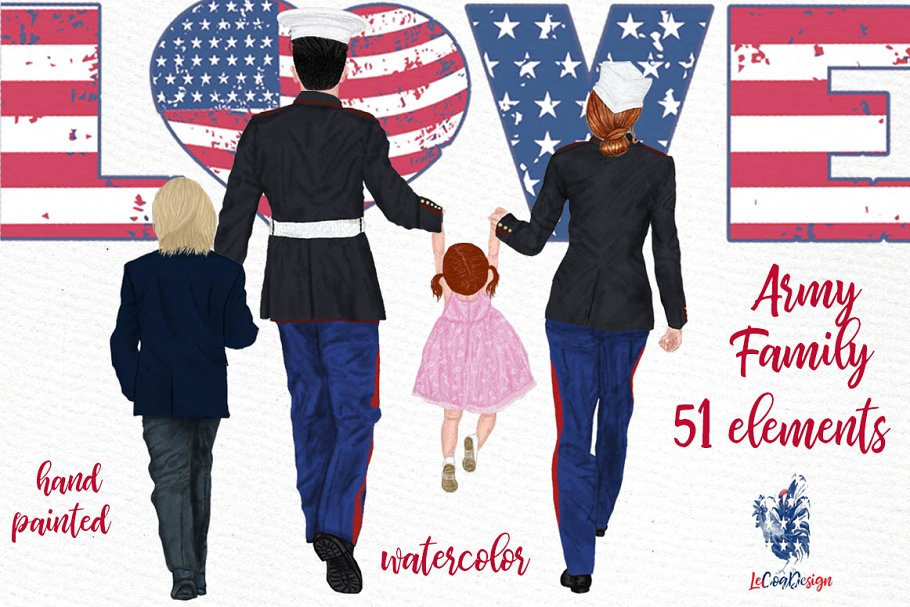 Army Family Clipart Military Couples ~ Illustrations.
