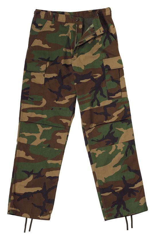 Relaxed Fit Zipper Camo BDU Fatigue Pants.