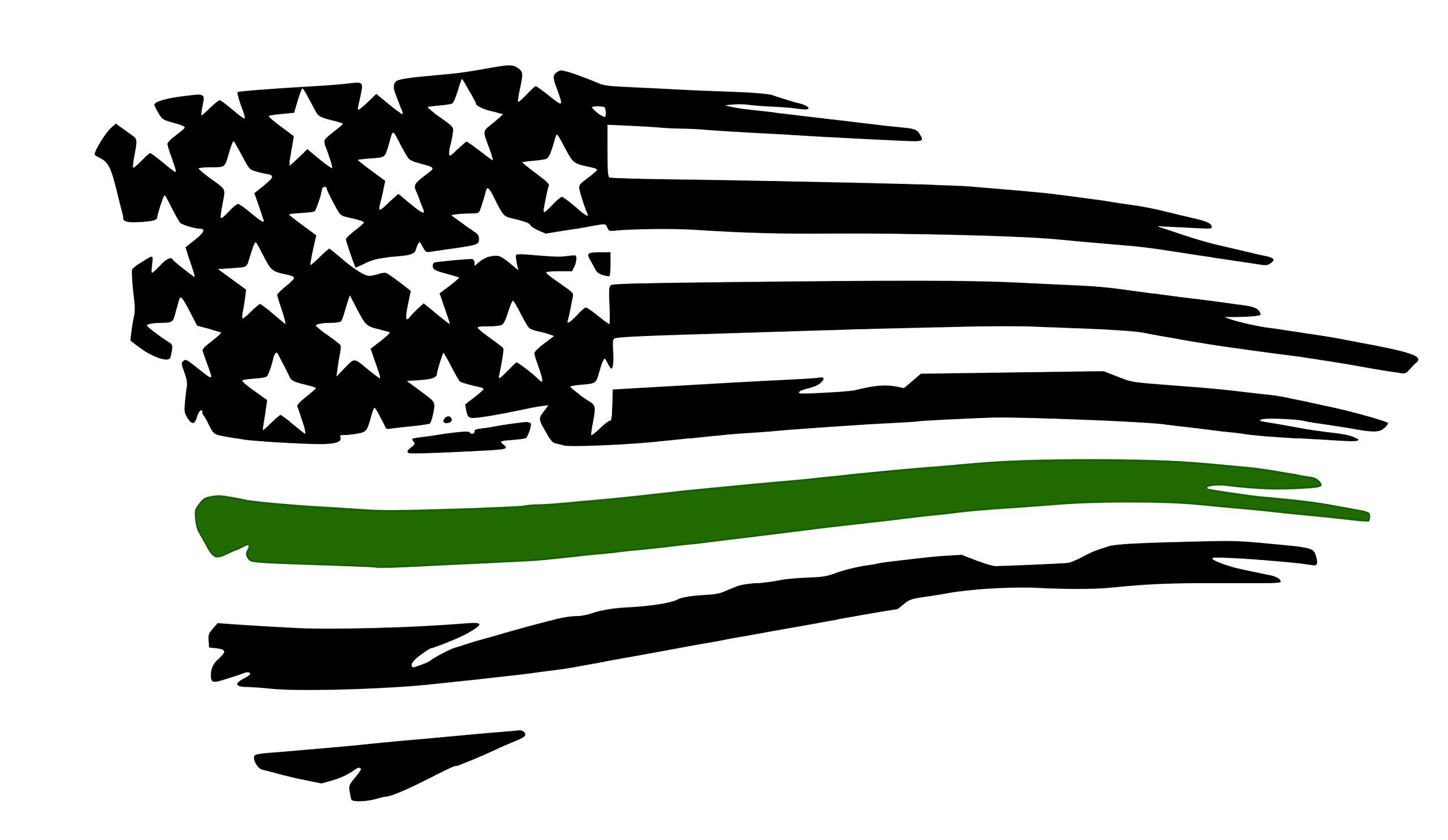 Army Tattered Flag Decal.