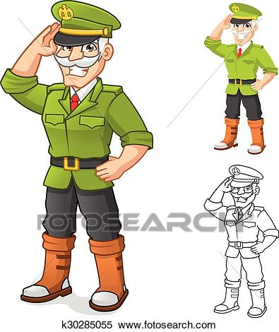 General Army Cartoon Character Clipart.