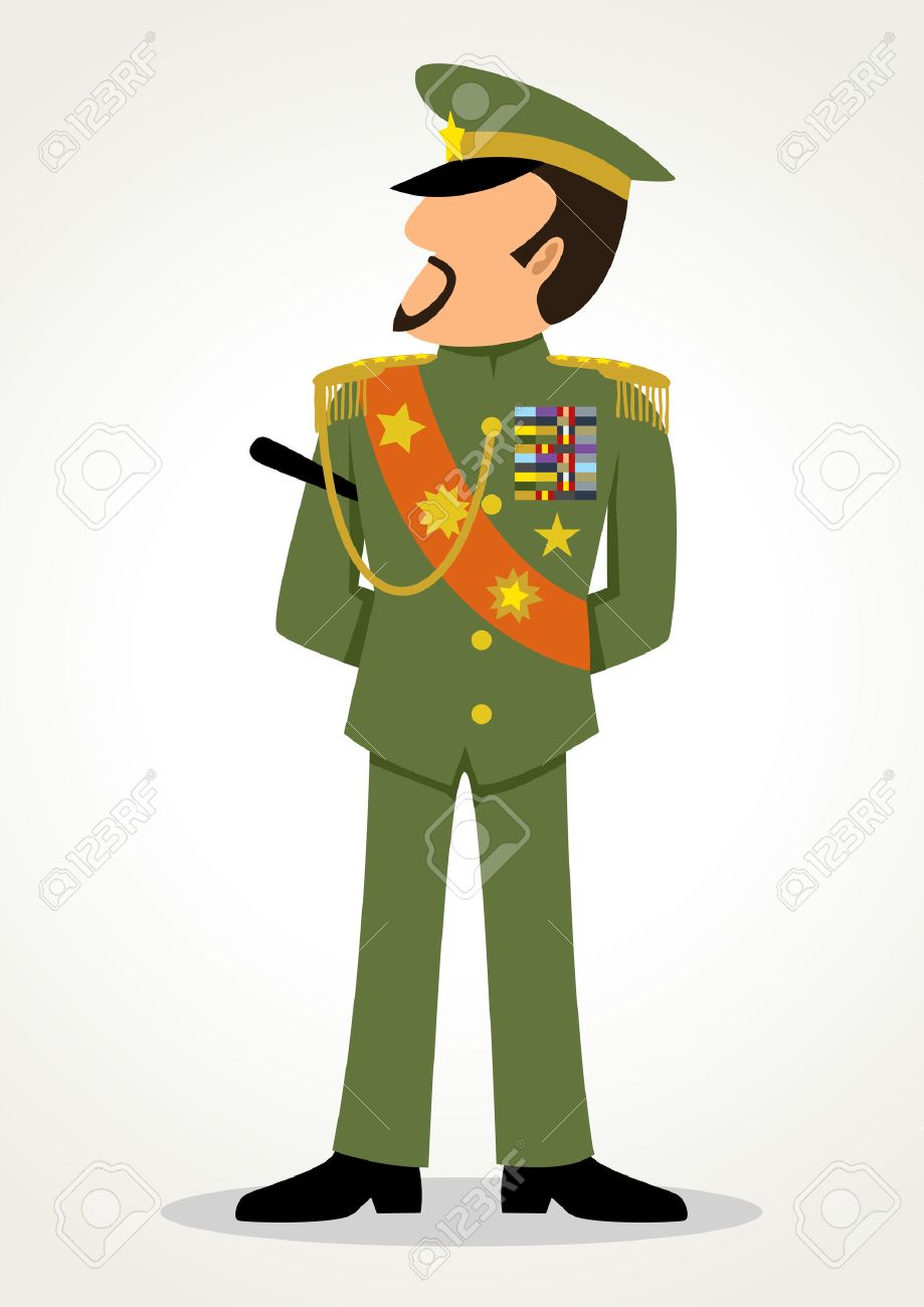 Simple cartoon of a general. Military, leadership, dictator theme.