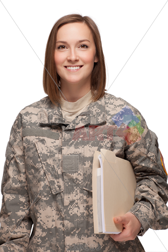 Stock Photo of Smiling military woman in uniform holding folder.