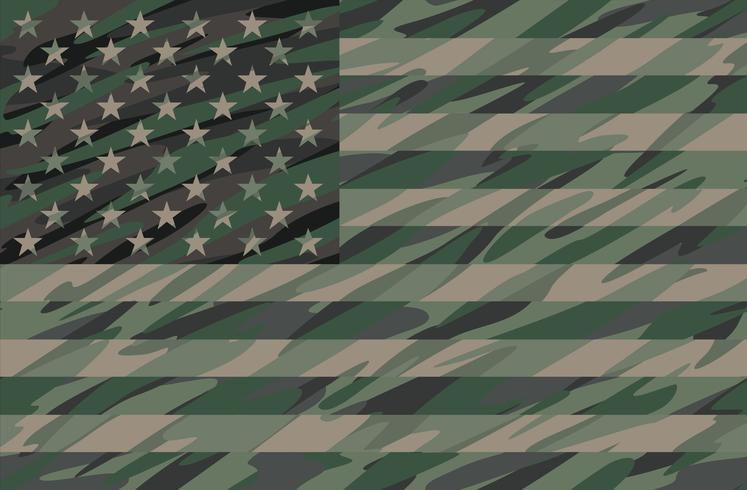 Patriotic Jungle Green Camo USA Flag Vector Illustration.