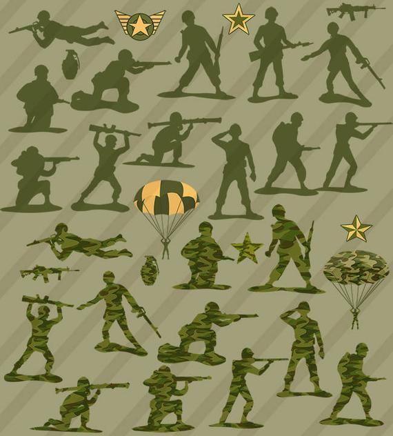 37 Piece Little Green Army Men Toys Clip Art Collection.