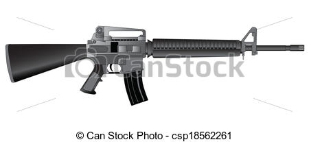Clip Art Vector of Army Rifle.