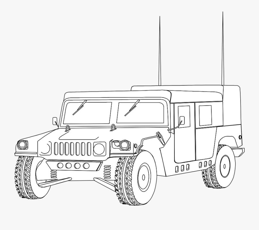 Hummer, Humvee, Vehicle, Military, Jeep, Outline, Car.
