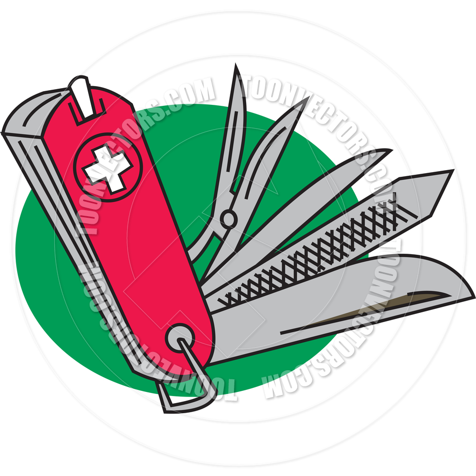 Cartoon Swiss Army Knife Vector Illustration by Clip Art Guy.