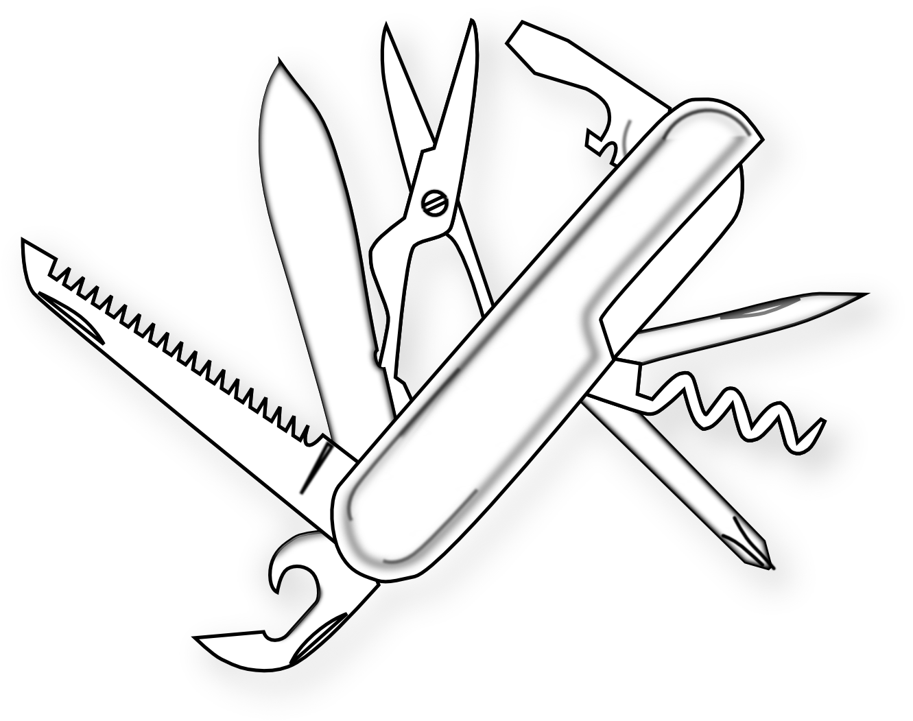 food swiss army knife 13 1233178 black white line art scalable.