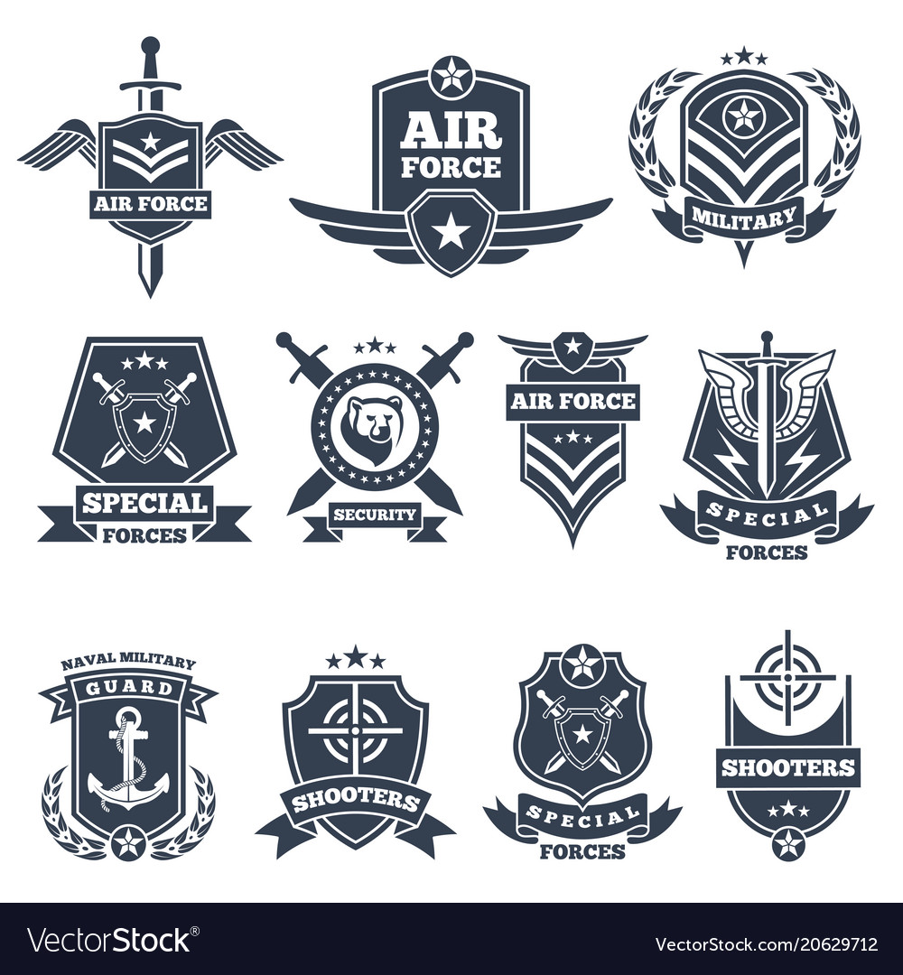 Military logos and badges army symbols isolated.