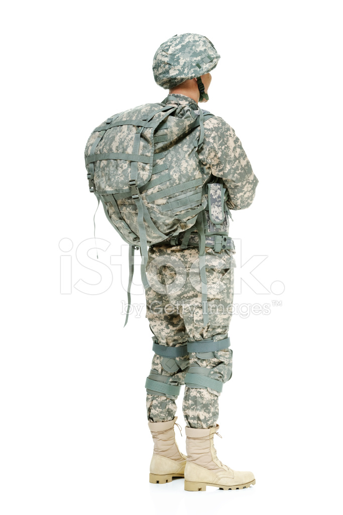Rear View of Army Man With Arms Crossed Stock Photos.