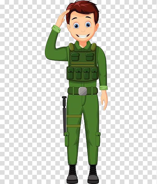 Cartoon Army Soldier , Saluting soldiers transparent.