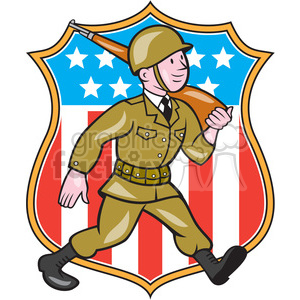world war two american soldier marching rifle SHIELD clipart. Royalty.