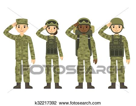 Cartoon army people Clipart.