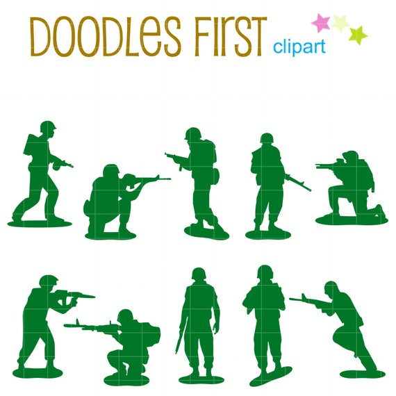 Little Army Men Silhouette Digital Clip Art for Scrapbooking Card.
