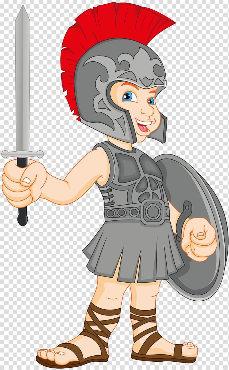 Gladiator , Cute Roman warrior of the material transparent.