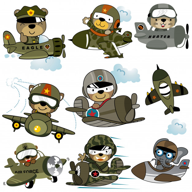 Vector set of military planes cartoon with funny pilots.