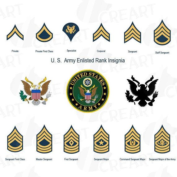 US Army enlisted rank insignia collection, US Army frame.