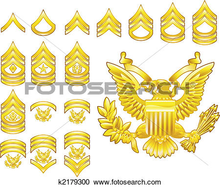 Clipart of american army enlisted rank insignia icons k2179300.