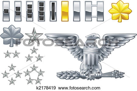 Clip Art of american army officer ranks insignia icons k2178419.