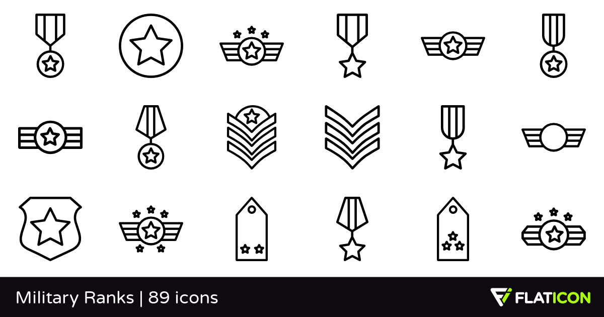Military Ranks 89 free icons (SVG, EPS, PSD, PNG files).