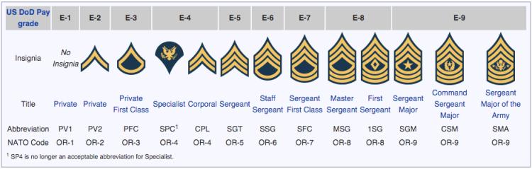U.S. Army Rank Insignia.