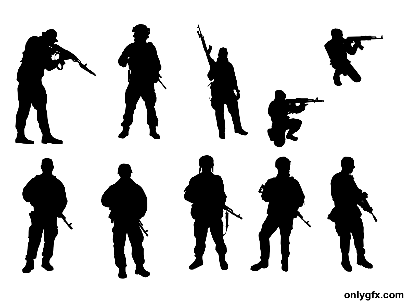 10 Soldier Silhouette (PNG Transparent).