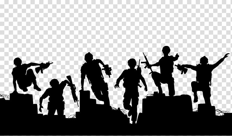 Army , Soldier illustration Silhouette, Ruins soldiers transparent.