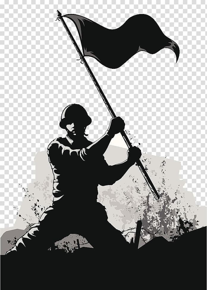 Soldier holding flag illustration, Soldier Army Euclidean.