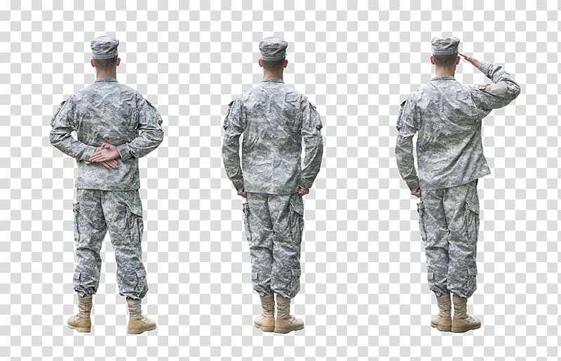 Three soldiers facing backwards, Soldier United States Army Salute.