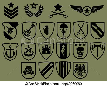 military symbols icons set (army emblems, coat of arms collection).