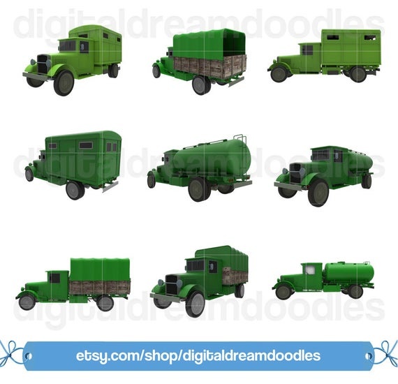 Vintage Truck Clipart, Classic Truck Clip Art, Retro Ambulance Truck Image,  Old Army Truck Graphic, Tanker Truck Scrapbook, Digital Download.