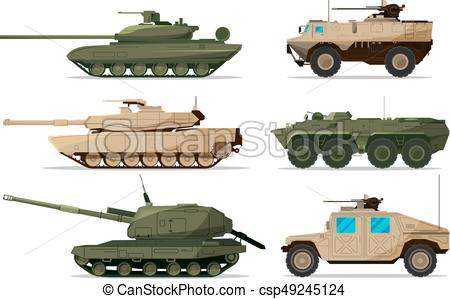 Military vehicle. Different artillery machines support. Heavy army  transport isolated on white. Illustrations in flat style.