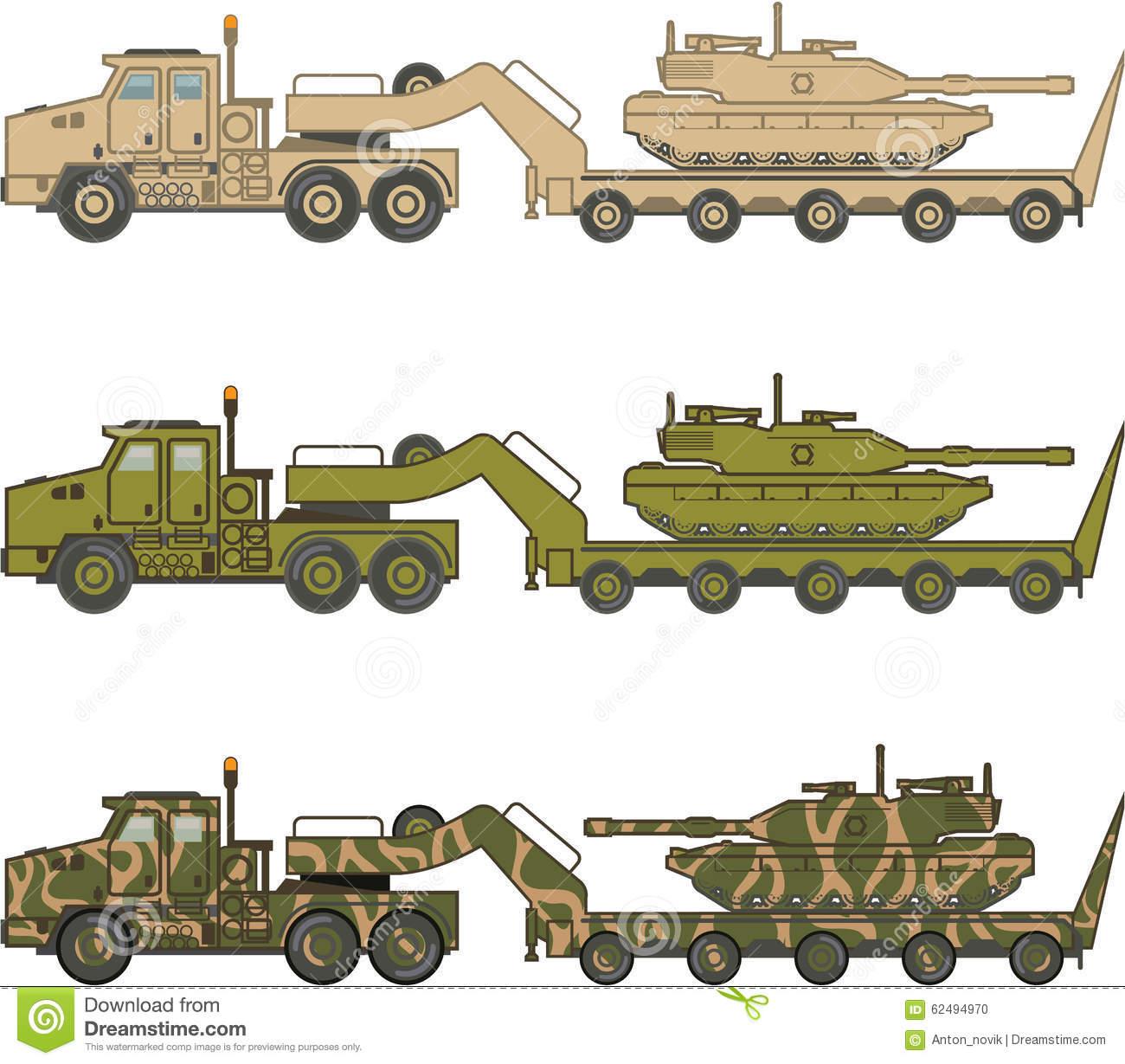Military Truck Pulling Tank Vector Stock Vector.