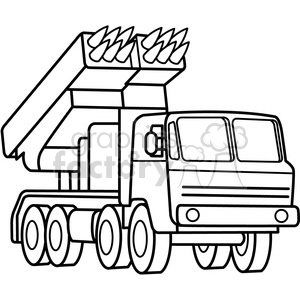 military armored mobile missle launch vehicle outline clipart. Royalty.