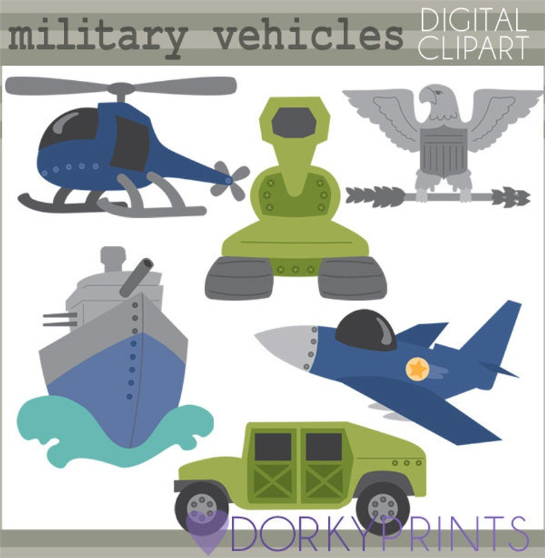 Military Vehicles Clipart Set.